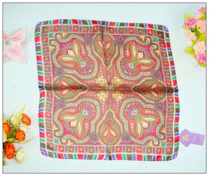 Bohemia Print Small Square Silk Scarf