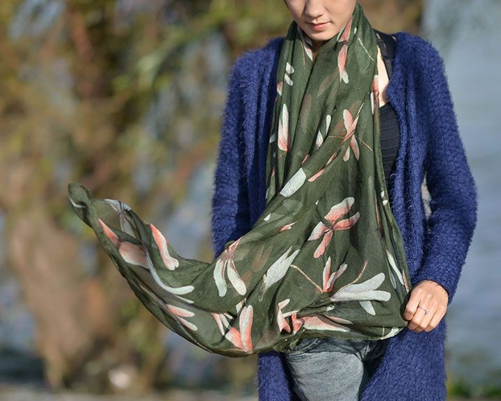 Dragonfly Voile Scarf-7362