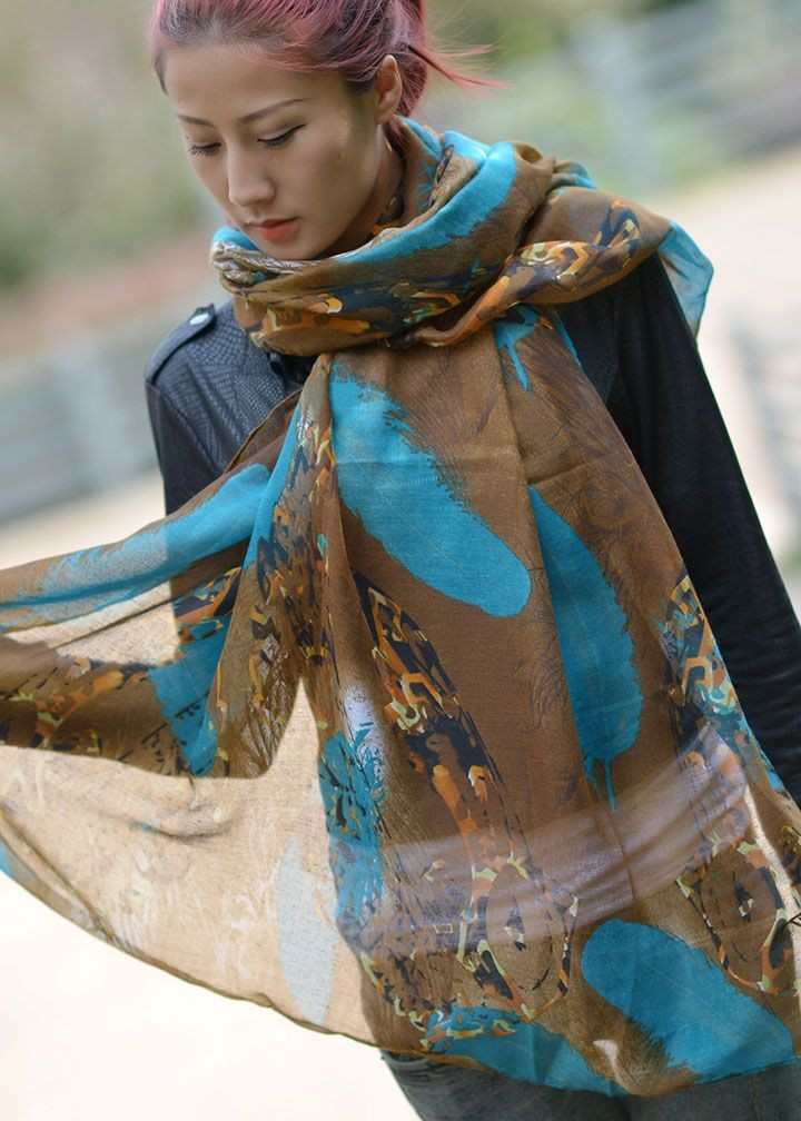 Feather Voile Scarf-7380