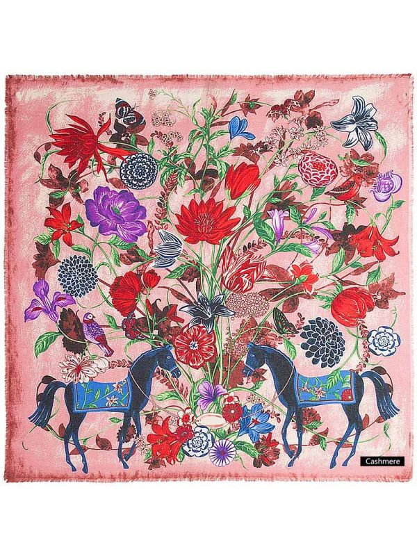 Horse&Flowers Pure Cashmere Square Scarves-Pink
