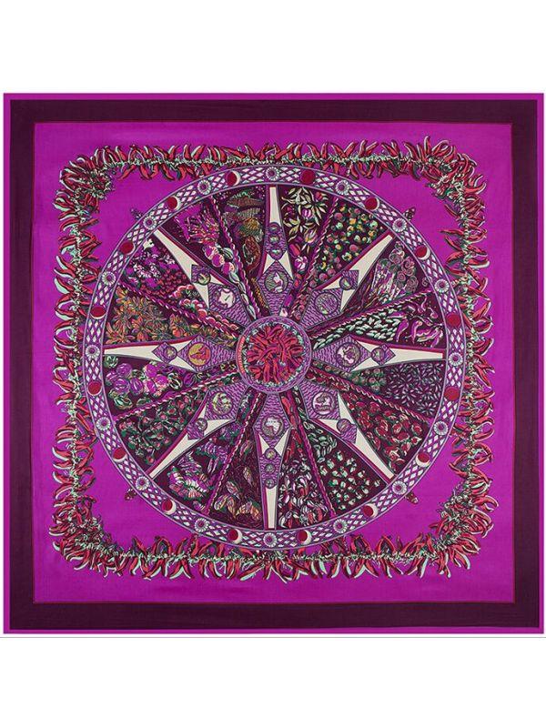 Small Pepper Bohemia Rose Compass-0141 Twill Silk & Polyester 130*130 Scarf Kerchief
