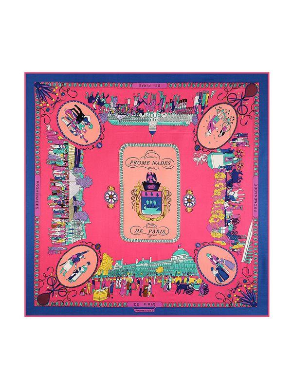 Stroll Paris-0621-1 Silk & Polyester 130*130 Scarf Kerchief