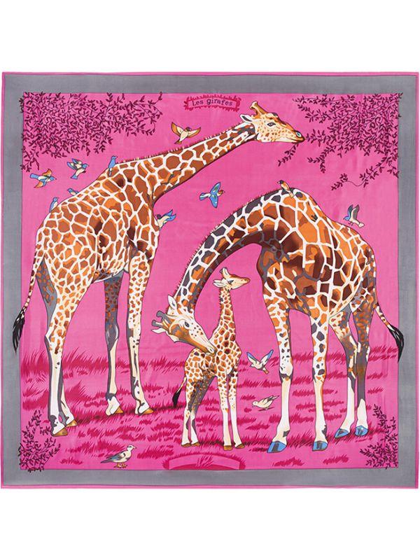 Giraffe-3341 Silk & Polyester 130*130 Scarf Kerchief