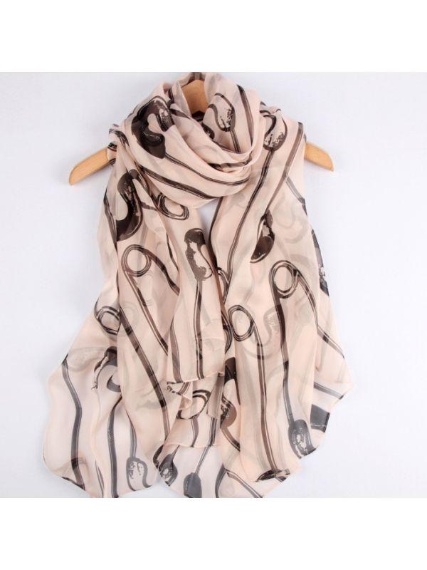 Clip Chiffon 100% Silk Scarves Shawls 180*140cm-khaki