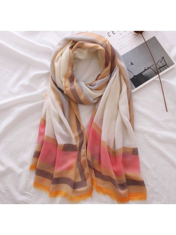 High Quality Colors Stripes Polyester Soft Thin Scarves Shawl-Beige