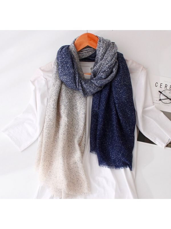 High Quality Soft Gradational Colors Dots Silky Polyester Thin Scarves Shawl-Beige