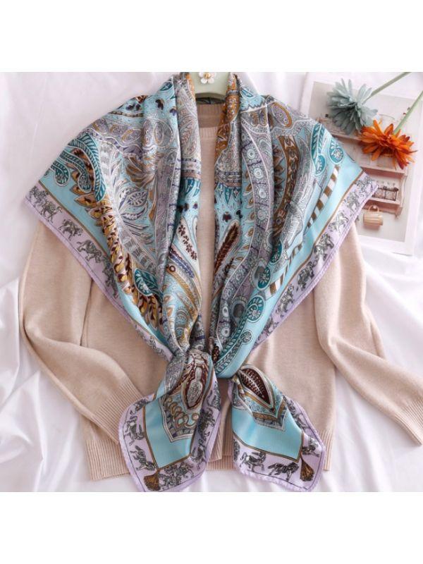 110*110 National Cashews Satin Square Scarves Kerchief-Azure