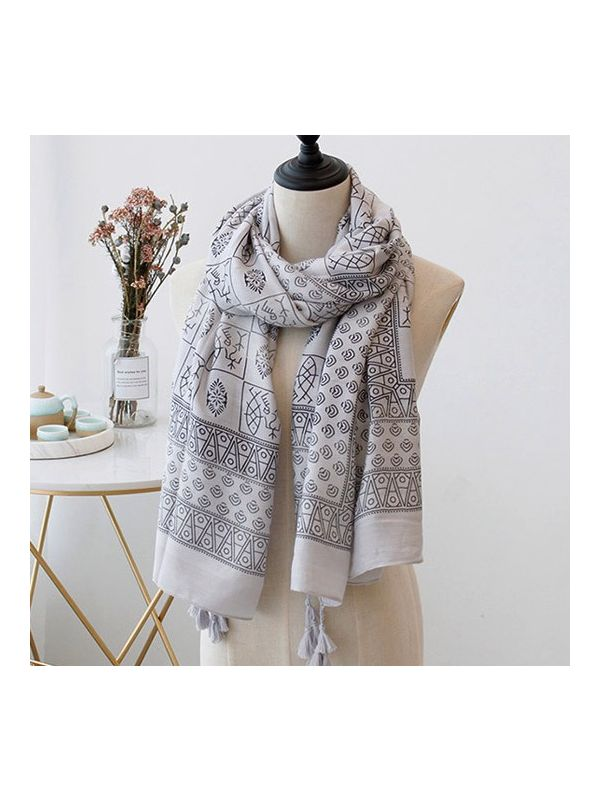 Pictograph Twill Cotton Scarves Shawls