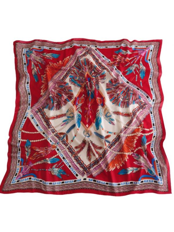 110*110 Indian Feather Satin Square Scarves Kerchief-Red