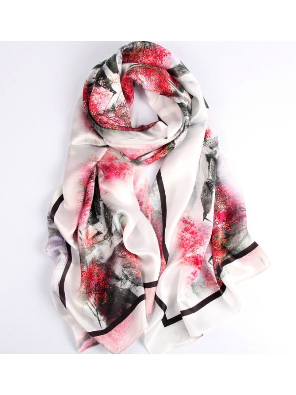Raining Countryside Blossoms Silk Charmeuse Fabric Digital Painting Scarves Shawls 180*55cm