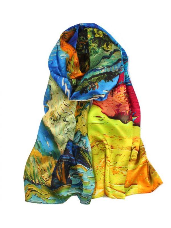 Autumn Silk Charmeuse Fabric Digital Painting Scarves Shawls 180*55cm