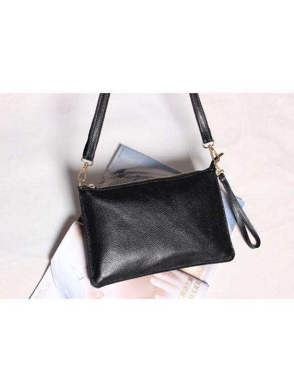 Simple Solid Color Genuine Leather Shoulder Bag Message Bag Clutch-Black
