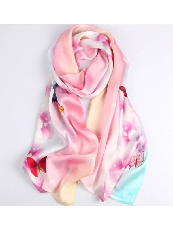 Colorful Butterfly Blossoms Silk Charmeuse Fabric Digital Painting Scarves Shawls 180*55cm