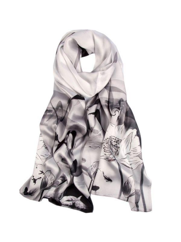 Ink Lotus Silk Charmeuse Fabric Digital Painting Scarves Shawls 180*55cm