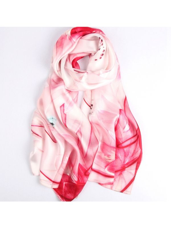 Strolling Flowers Blossoms Silk Charmeuse Fabric Digital Painting Scarves Shawls 180*55cm