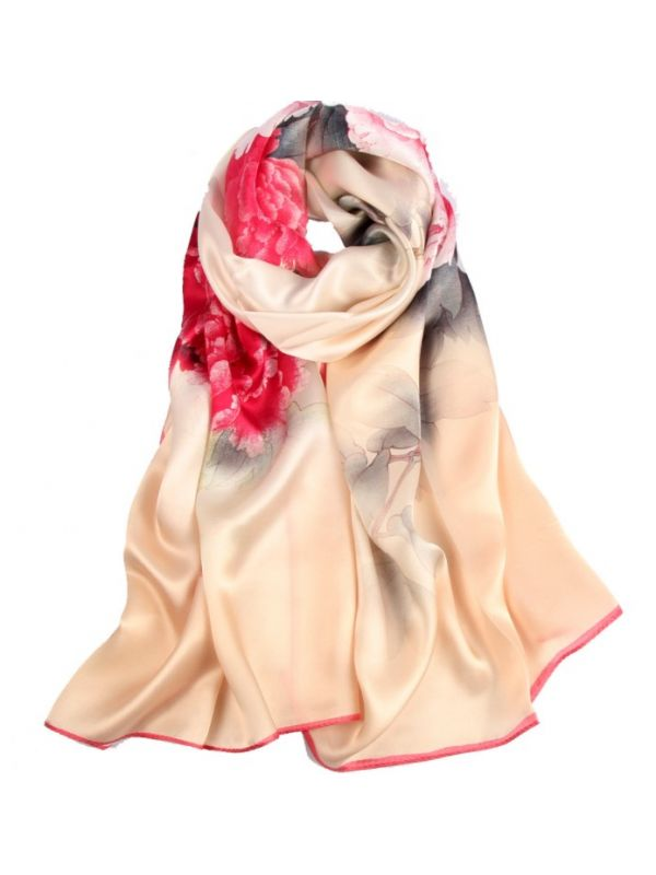 Peony Silk Charmeuse Fabric Digital Painting Scarves Shawls 180*55cm