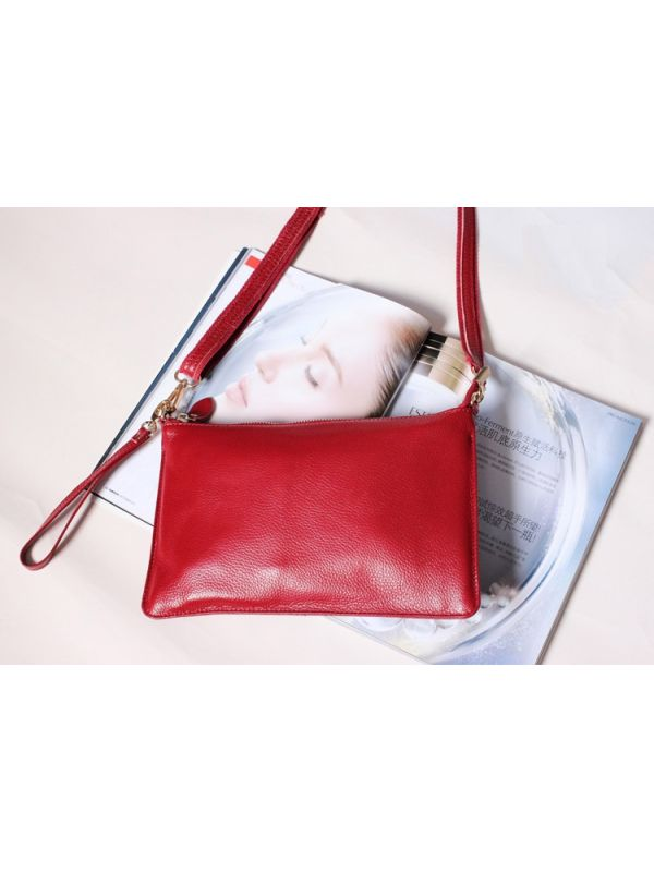 Simple Solid Color Genuine Leather Shoulder Bag Message Bag Clutch-Red