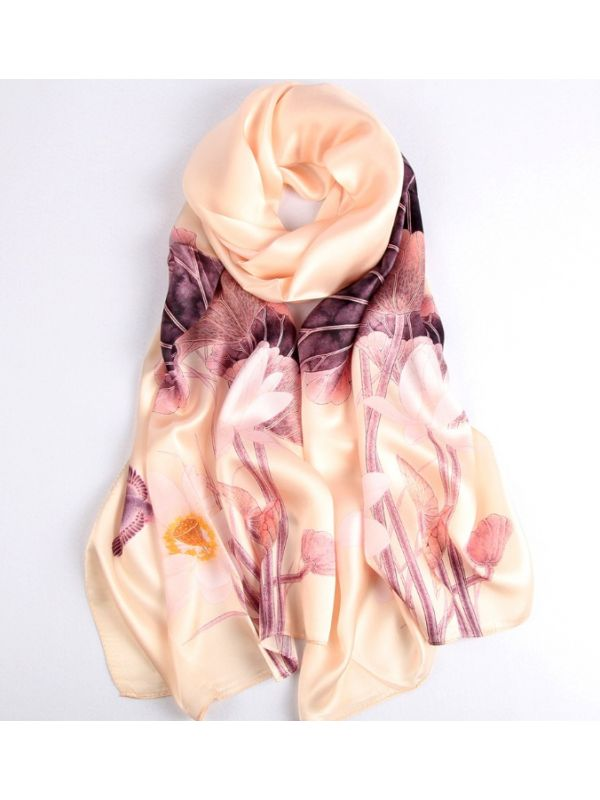 Tranquil Lotus Blossoms Silk Charmeuse Fabric Digital Painting Scarves Shawls 180*55cm