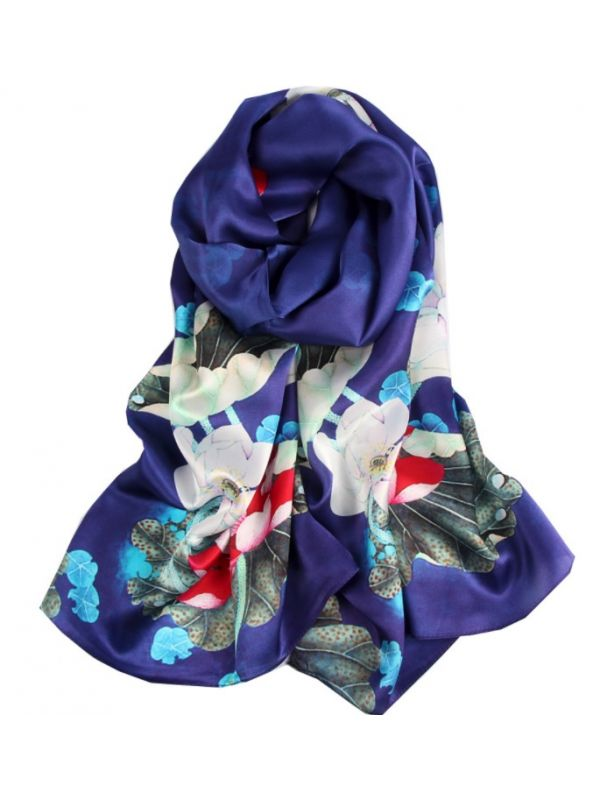 Lively Lotus Silk Charmeuse Fabric Digital Painting Scarves Shawls 180*55cm