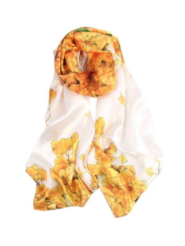 Apricot Flowers Silk Charmeuse Fabric Digital Painting Scarves Shawls 180*55cm