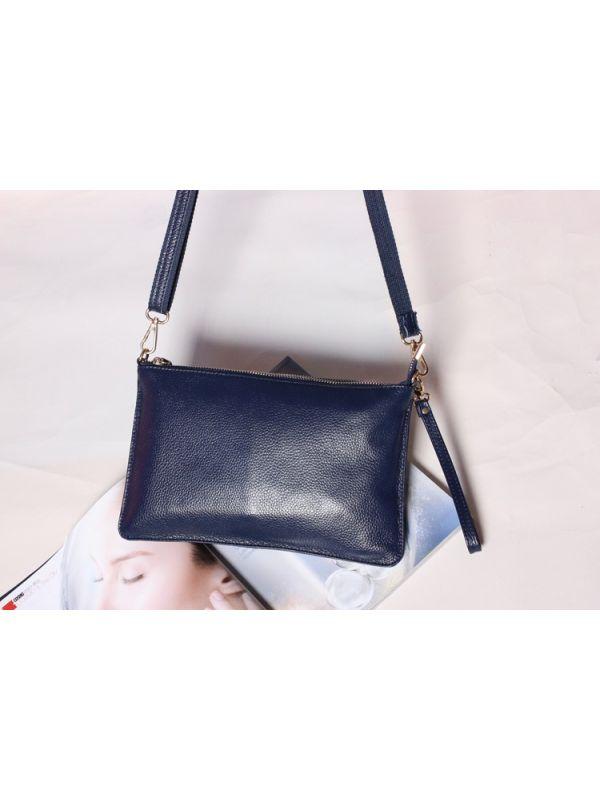 Simple Solid Color Genuine Leather Shoulder Bag Message Bag Clutch-Blue