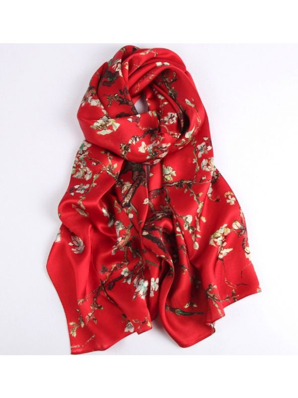 Enthusiastic Plum Blossom Blossoms Silk Charmeuse Fabric Digital Painting Scarves Shawls 180*55cm