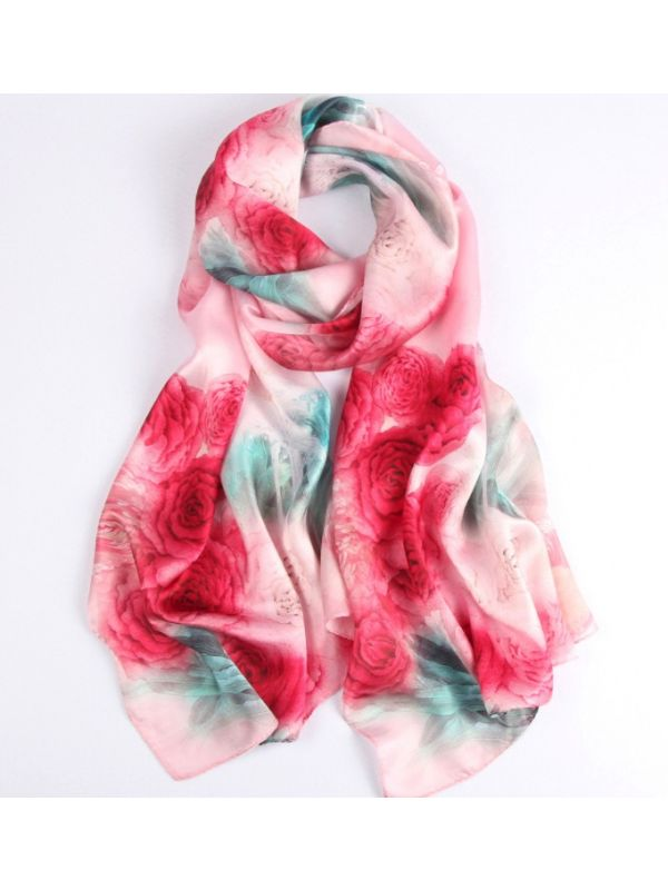 Herbaceous Peony Silk Charmeuse Fabric Digital Painting Scarves Shawls 180*55cm