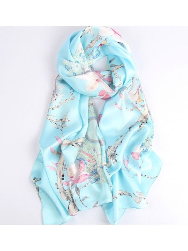 Moring Orchid Blossoms Silk Charmeuse Fabric Digital Painting Scarves Shawls 180*55cm