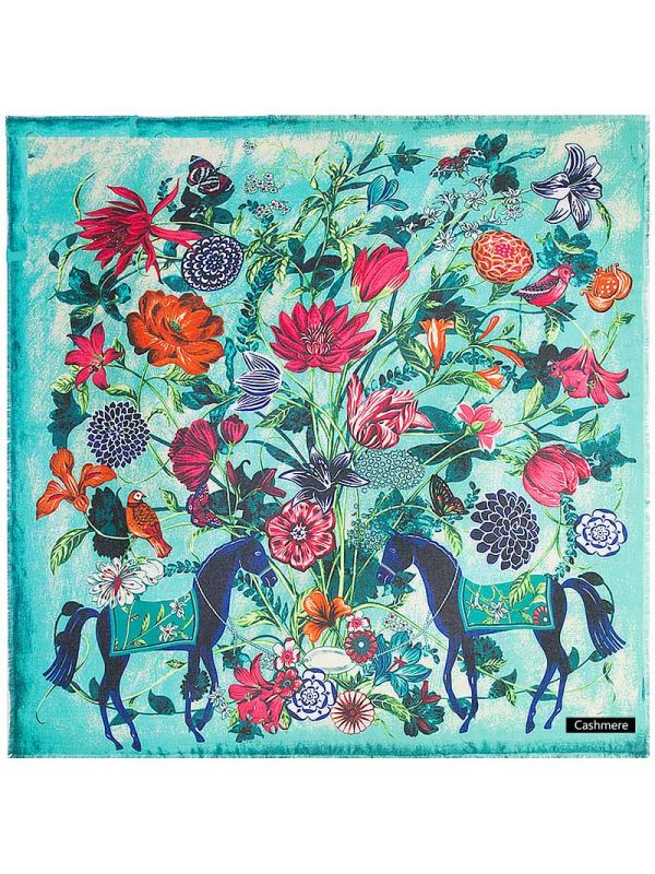 Horse&Flowers Pure Cashmere Square Scarves-Lawngreen