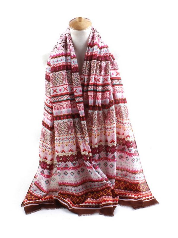 Bohemia Combed Cotton Scarves Shawl-Red