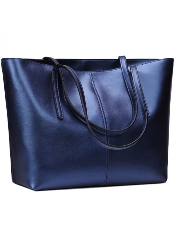 Simple Fashion Style Thread Genuine Leather Tote Bag-Blue-Large-sized