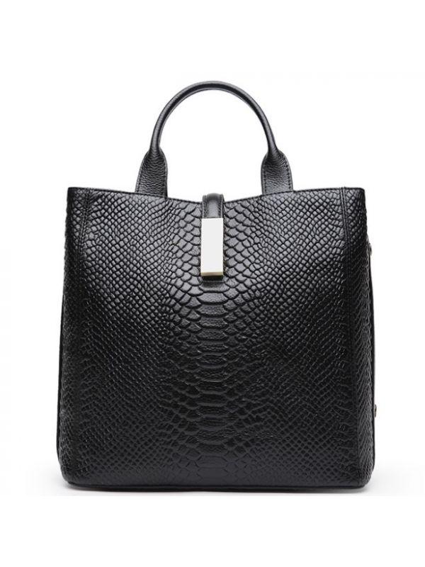 Alligator Pattern Genuine Top Grain Cowhide Leather Large Square Tote Shoulder Bag-Black
