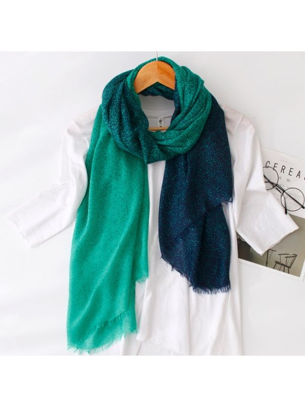 High Quality Soft Gradational Colors Dots Silky Polyester Thin Scarves Shawl-Green