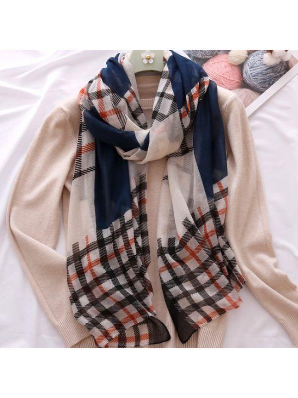Simple Grids Cotton Scarves Shawl-Dark Blue