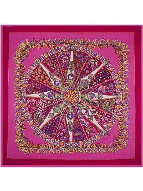 Small Pepper Bohemia Rose Compass-0142 Twill Silk & Polyester 130*130 Scarf Kerchief