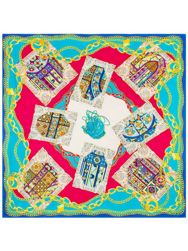 Flagon Poker Chain Pattern-fsd2-4 Twill Silk & Polyester 130*130 Scarf Kerchief