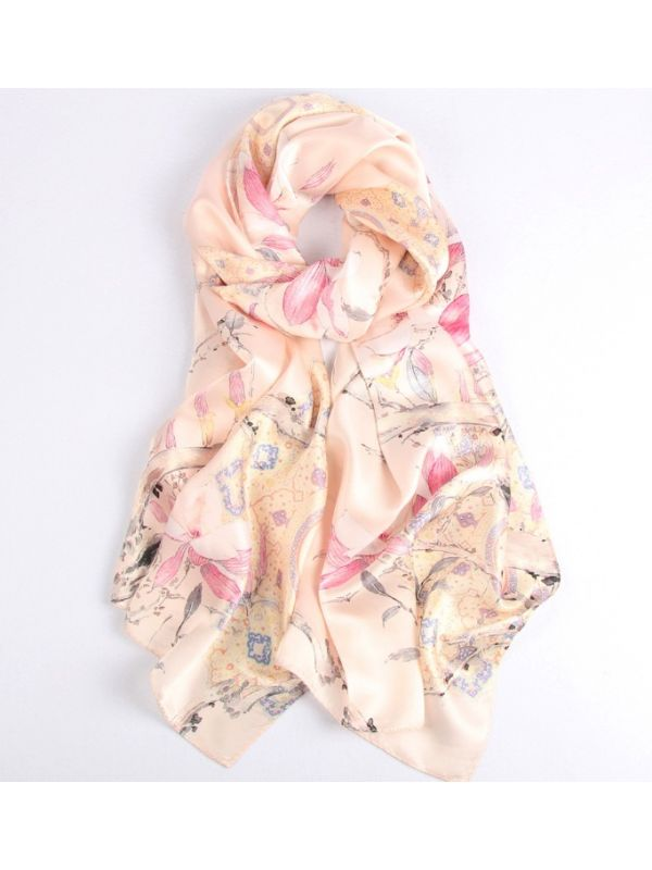 Sunset Orchid Blossoms Silk Charmeuse Fabric Digital Painting Scarves Shawls 180*55cm