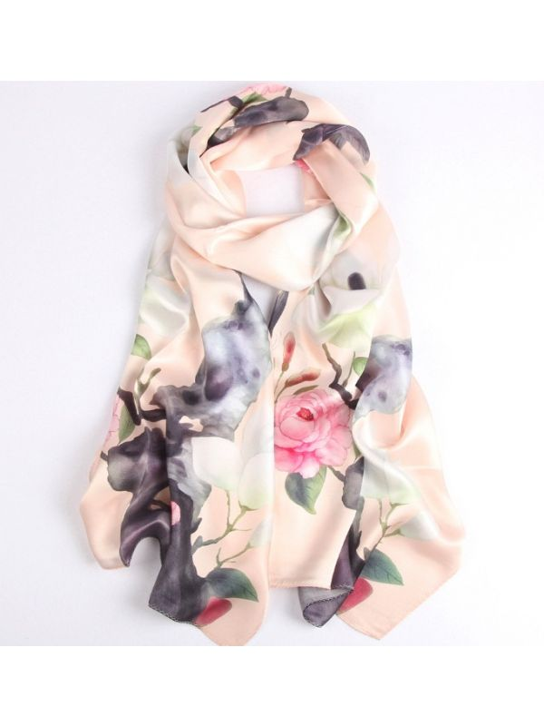 Magnolia Silk Charmeuse Fabric Digital Painting Scarves Shawls 180*55cm