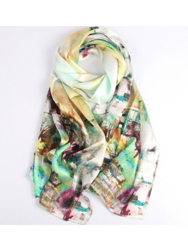 The Field in the Fog Silk Charmeuse Fabric Digital Painting Scarves Shawls 180*55cm