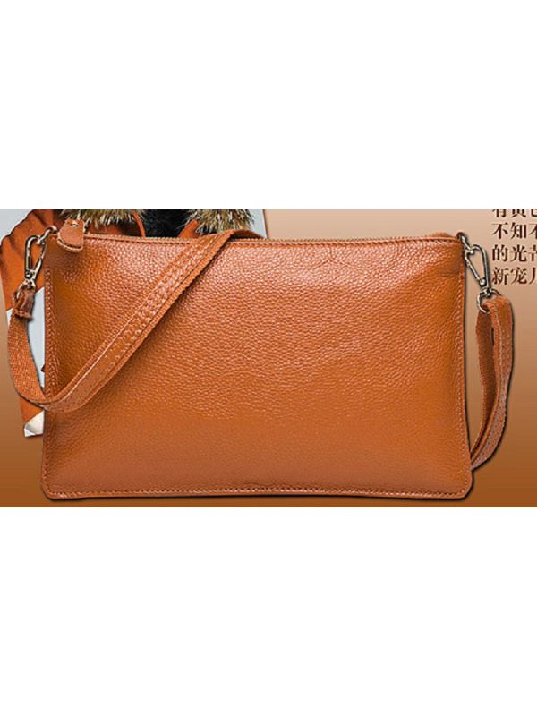 Simple Solid Color Genuine Leather Shoulder Bag Message Bag Clutch-Brown