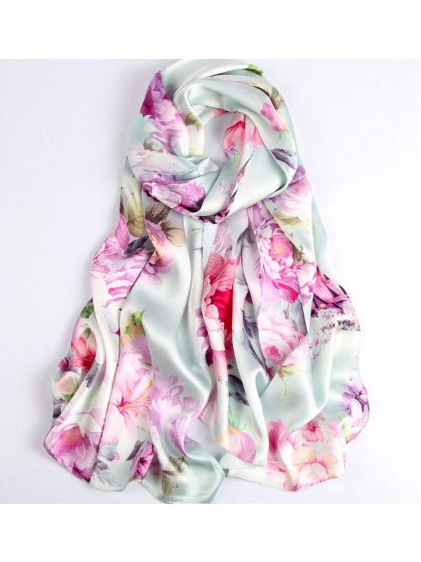 Spring Flowers Silk Charmeuse Fabric Digital Painting Scarves Shawls 180*55cm
