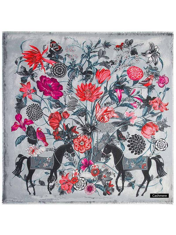 Horse&Flowers Pure Cashmere Square Scarves-Gray