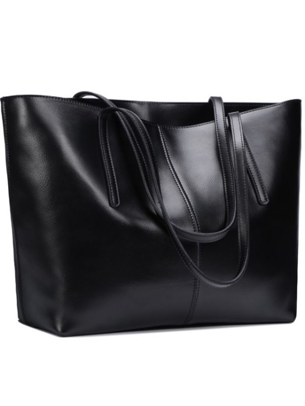 Simple Fashion Style Thread Genuine Leather Tote Bag-Black-Large-sized