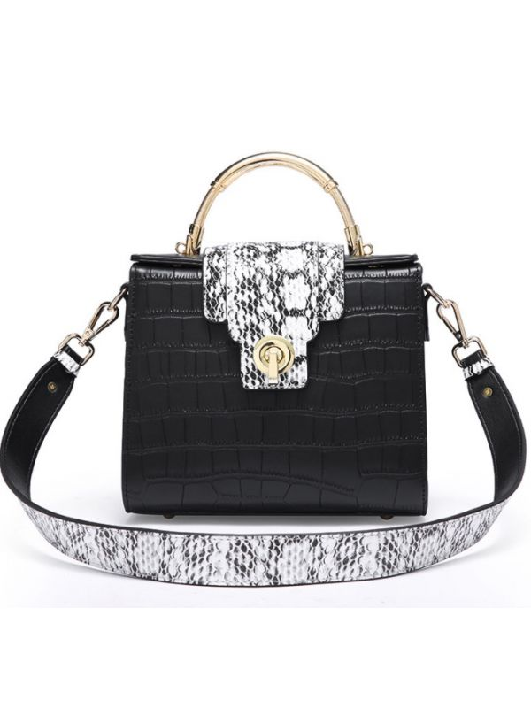 Alligator Flap Genuine Leather Shoulder Bag Cross Body Bag-Black