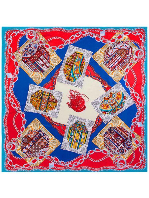 Flagon Poker Chain Pattern-fsd3-4 Twill Silk & Polyester 130*130 Scarf Kerchief