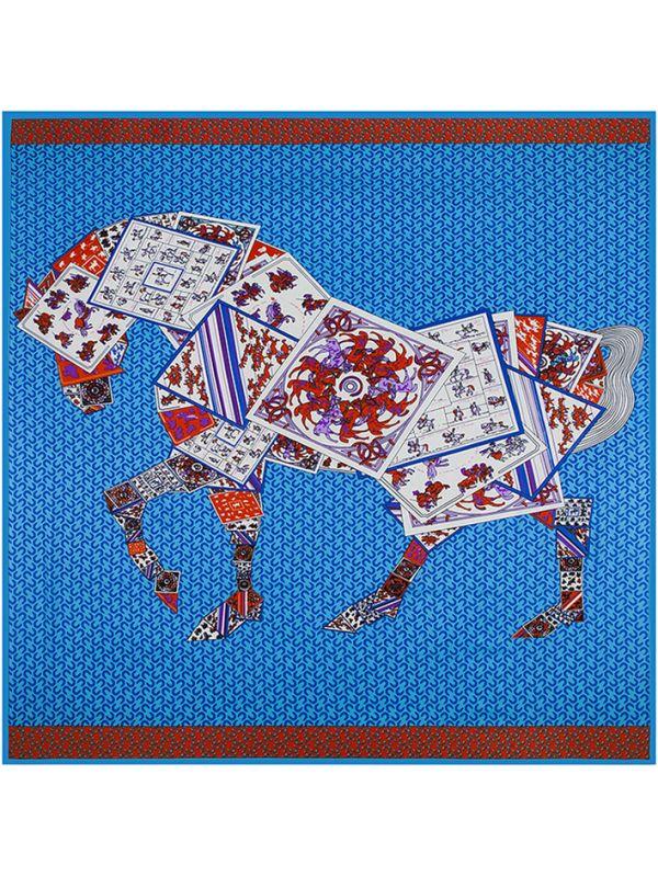 Poker Horse-0563 Silk & Polyester 130*130 Scarf Kerchief