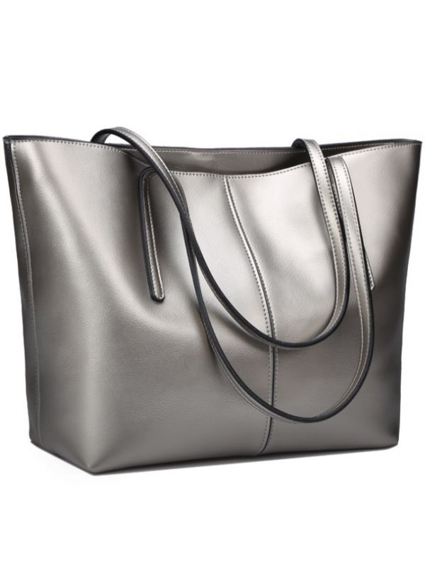 Simple Fashion Style Thread Genuine Leather Tote Bag-Silver-Large-sized