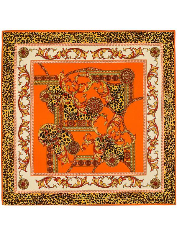 Leopard Court Pattern-0344 Twill Silk & Polyester Scarf Kerchief