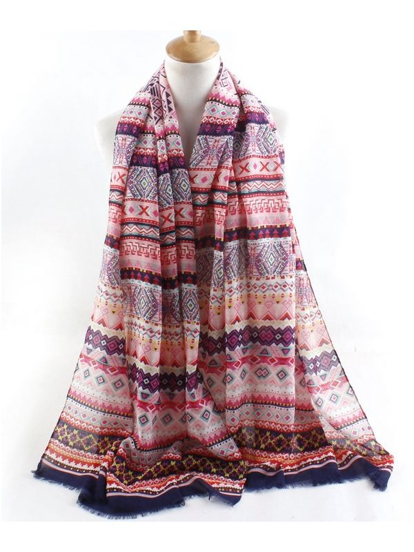 Bohemia Combed Cotton Scarves Shawl-Pink