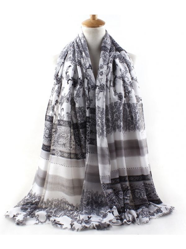 F Cashew Combed Cotton Scarves Shawl-Gray